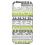 Modelo tribal azteca abstracto gris verde de la iPhone 5 Case-Mate cobertura