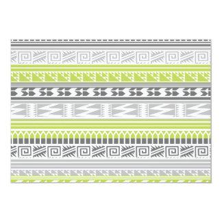 """Modelo tribal azteca abstracto gris verde de la invitación 5"""" x 7"""""""