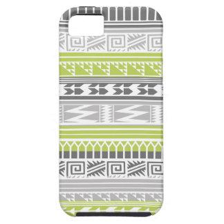 Modelo tribal azteca abstracto gris verde de la iPhone 5 fundas