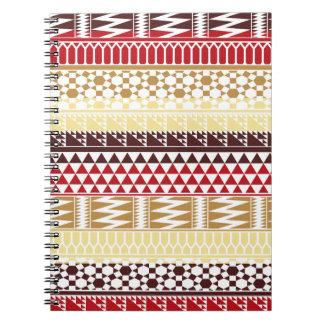 Modelo tribal azteca abstracto rojo poner crema de libretas espirales