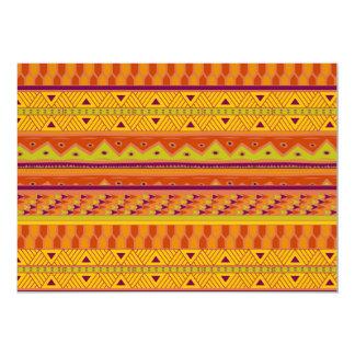 """Modelo tribal azteca abstracto verde anaranjado de invitación 5"""" x 7"""""""