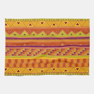 Modelo tribal azteca abstracto verde anaranjado de toallas