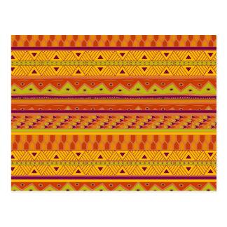 Modelo tribal azteca abstracto verde anaranjado de postal