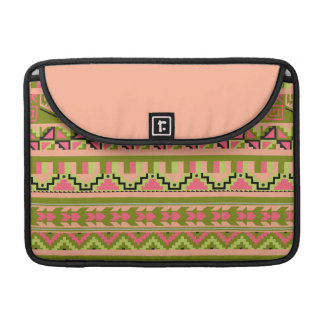Modelo tribal azteca abstracto verde rosado de la fundas macbook pro