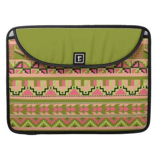 Modelo tribal azteca abstracto verde rosado de la fundas para macbook pro