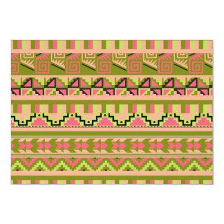 """Modelo tribal azteca abstracto verde rosado de la invitación 5"""" x 7"""""""