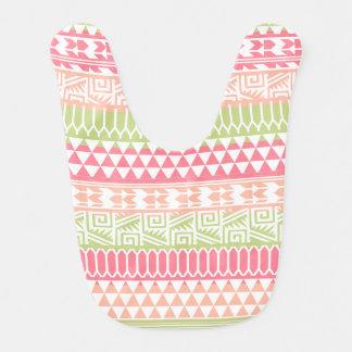 Modelo tribal azteca abstracto verde rosado de la baberos para bebé