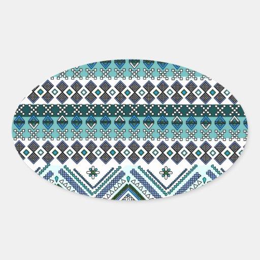 Modelo tribal azteca azul de los Andes Pegatina Ovalada