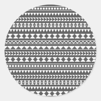 Modelo tribal azteca blanco y gris pegatinas redondas