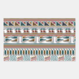 Modelo tribal azteca geométrico coloreado multi de pegatina rectangular