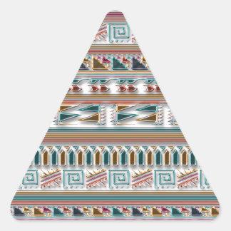 Modelo tribal azteca geométrico coloreado multi de pegatina triangular