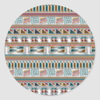 Modelo tribal azteca geométrico coloreado multi de pegatina redonda