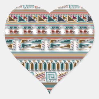 Modelo tribal azteca geométrico coloreado multi de pegatina en forma de corazón