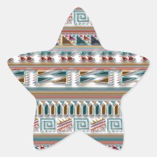 Modelo tribal azteca geométrico coloreado multi de pegatina en forma de estrella