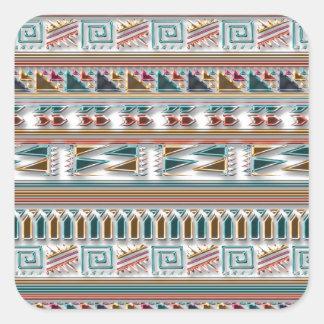 Modelo tribal azteca geométrico coloreado multi de pegatina cuadrada
