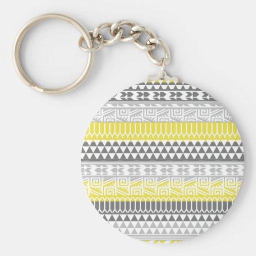 Modelo tribal azteca geométrico gris amarillo de llavero personalizado