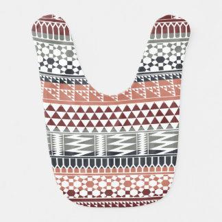 Modelo tribal azteca geométrico gris marrón de la baberos para bebé