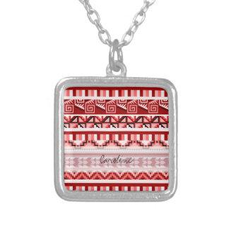 Modelo tribal azteca geométrico rosado de la grimpola