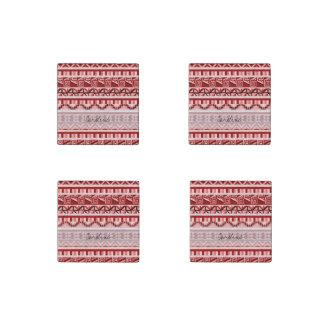 Modelo tribal azteca geométrico rosado de la imán de piedra
