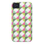 Modelo tribal azteca verde rosado del bloque de lo iPhone 4 Case-Mate protectores