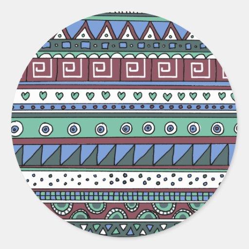 Modelo tribal azul pegatina redonda