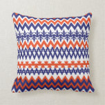 Modelo tribal azul y anaranjado intrépido de Chevr Cojines