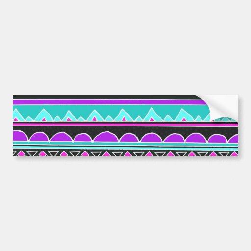 Modelo tribal azul y púrpura brillante pegatina de parachoque