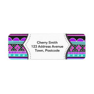 Modelo tribal azul y púrpura brillante etiqueta de remite