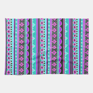 Modelo tribal azul y púrpura brillante toallas