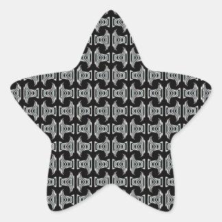 modelo tribal blanco negro pegatina en forma de estrella