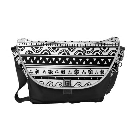 Modelo tribal blanco y negro bolsa de mensajeria