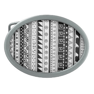 Modelo tribal blanco y negro hebilla cinturon
