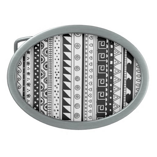 Modelo tribal blanco y negro hebilla de cinturón oval