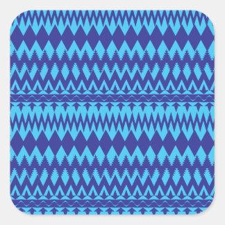 Modelo tribal brillante del trullo y de los azules pegatina cuadrada