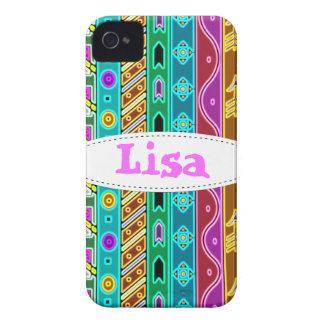 Modelo tribal colorido iPhone 4 Case-Mate cárcasas