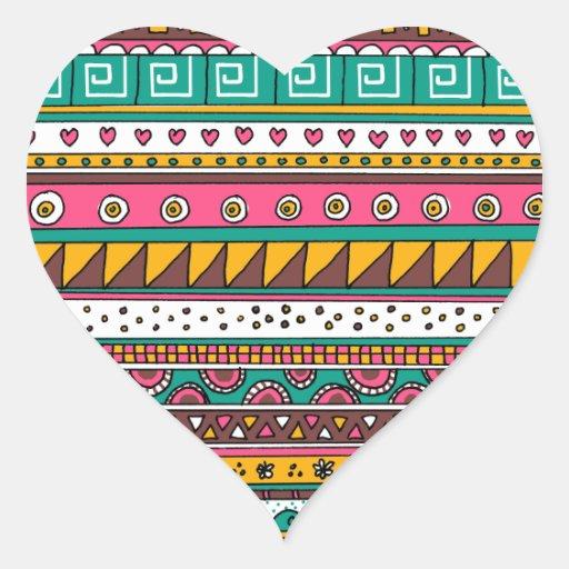 Modelo tribal colorido pegatinas corazon personalizadas