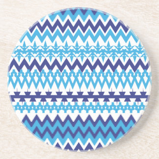 Modelo tribal de Chevron de las azules turquesas i Posavaso Para Bebida
