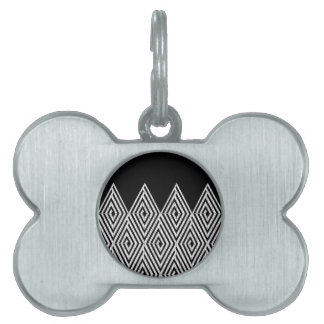 Modelo tribal de Chevron del diamante del zigzag Placas De Nombre De Mascota