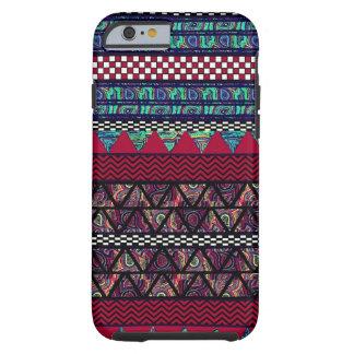 Modelo tribal de las rayas de Boho del pavo real Funda Para iPhone 6 Tough