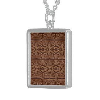 Modelo tribal de lujo, marrón colgante cuadrado