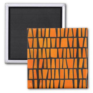 Modelo tribal del africano anaranjado y negro imán cuadrado