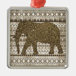 Modelo tribal del elefante caprichoso en el diseño adorno cuadrado plateado