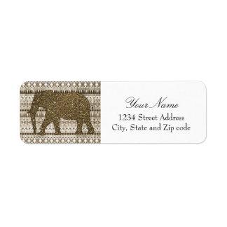 Modelo tribal del elefante caprichoso en el diseño etiquetas de remite