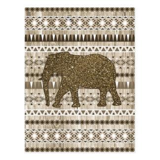 Modelo tribal del elefante caprichoso en el diseño tarjetas postales