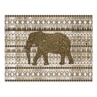 Modelo tribal del elefante caprichoso en el diseño postal