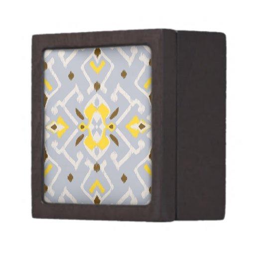 Modelo tribal del ikat amarillo gris geométrico el cajas de joyas de calidad