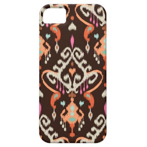Modelo tribal del ikat femenino marrón anaranjado iPhone 5 Case-Mate funda