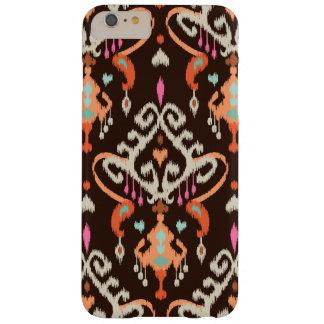 Modelo tribal del ikat femenino marrón anaranjado funda de iPhone 6 plus barely there