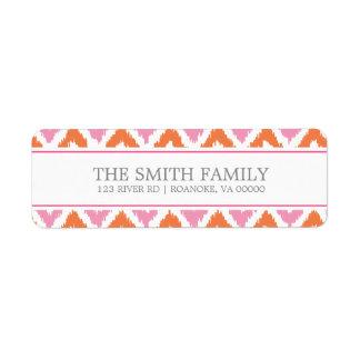 Modelo tribal del zigzag fucsia rosado anaranjado etiqueta de remitente
