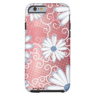 Modelo tribal floral azul blanco rojo del tatuaje funda de iPhone 6 tough